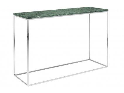 Zelený mramorový toaletní stolek Baronet 120x40 cm se stříbrnou podnoží