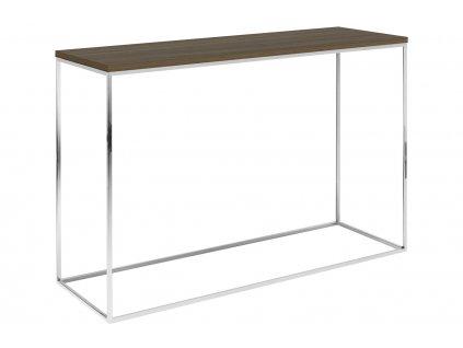 Hnědý ořechový toaletní stolek Baronet 120x40 cm se stříbrnou podnoží