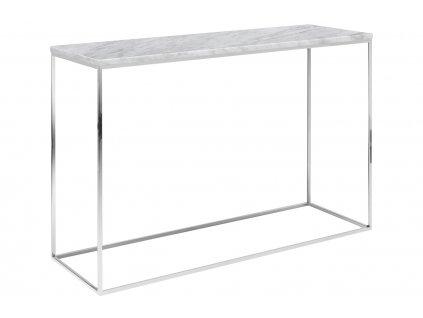 Bílý mramorový toaletní stolek Baronet 120x40 cm se stříbrnou podnoží
