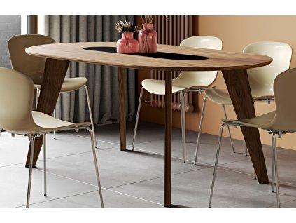 Přírodní ořechový jídelní stůl Huner 180x100 cm