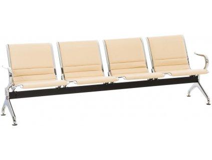 Béžová koženková čtyřmístná čekárenská lavice Hamburg 238 cm