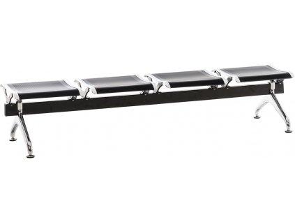 Černá kovová čtyřmístná čekárenská lavice Hannover 98 cm