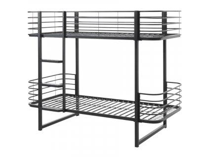 Černá kovová dětská patrová postel Vipack Oscar 90x200 cm