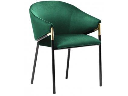 Tmavě zelená sametová jídelní židle Francis