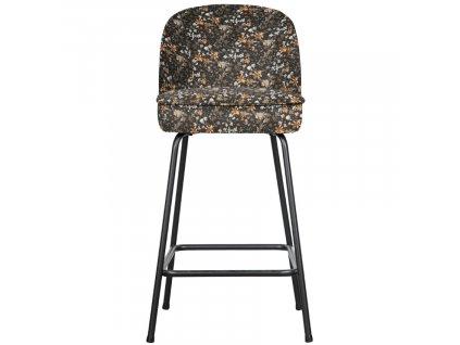 Černá sametová barová židle Tergi 89 cm s květinovým vzorem