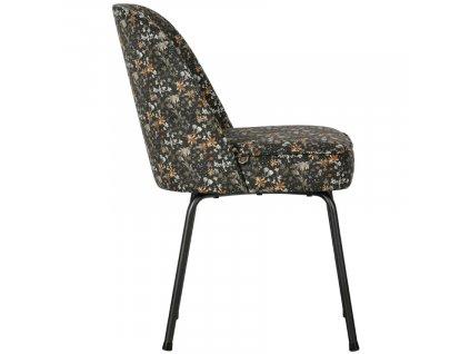 Černá sametová jídelní židle Tergi s květinovým vzorem