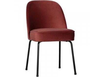 Kaštanově hnědá sametová jídelní židle Tergi
