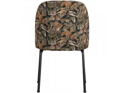 Černá sametová jídelní židle Tergi s květinovým vzorem II.