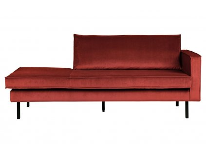 Kaštanově červená sametová lenoška Raden 203 cm, pravá