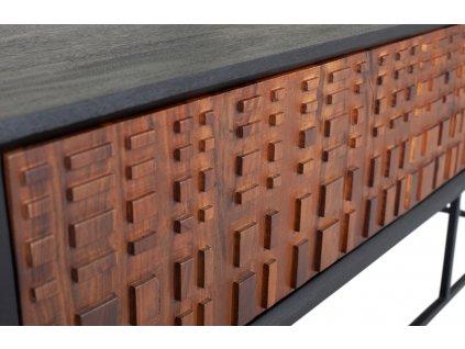 Hnědý masivní sheeshamový TV stolek Alecia  175 x 43 cm