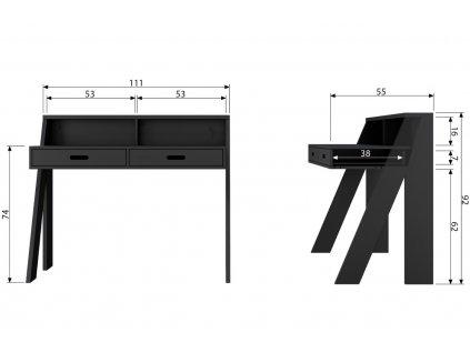 Černý dřevěný pracovní stůl Ernie 112 cm