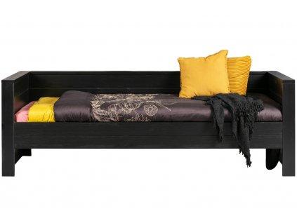 Černá dřevěná dětská postel Koben 90 x 200 cm