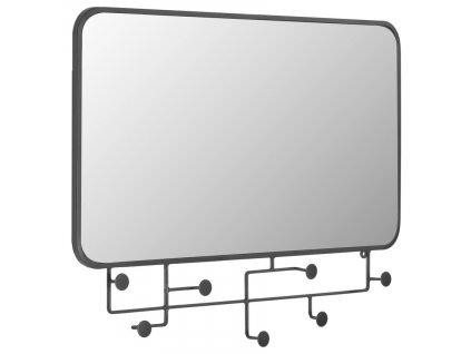 Černé kovové nástěnné zrcadlo LaForma Vianela 63x82 cm s věšáky