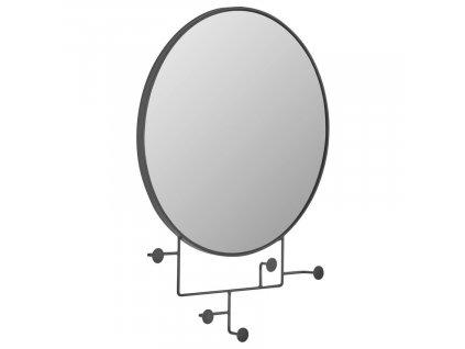 Černé kovové nástěnné zrcadlo LaForma Vianela 70x51 cm s věšáky