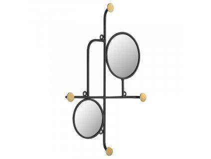 Černé nástěnné zrcadlo LaForma Vianela 50x35 cm s věšáky
