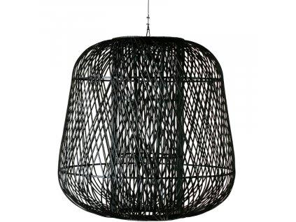 Černé pletené bambusové závěsné světlo Bamboo