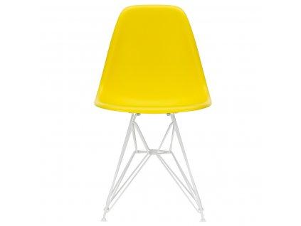 Žlutá plastová jídelní židle DSR s bílou podnoží