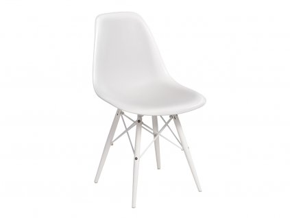 Bílá lesklá plastová židle DSW s bílou podnoží