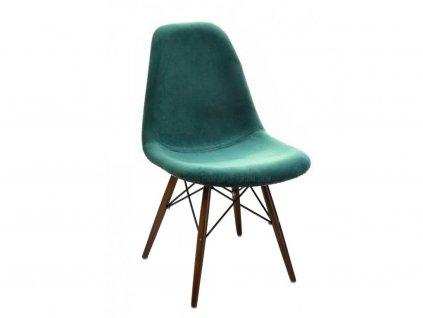 Zelená sametová židle DSW se zlatou podnoží