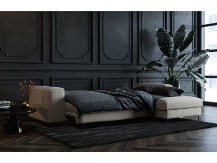 Světle šedá čalouněná rohová rozkládací pohovka DEVICHY Rothe, pravá 277 cm