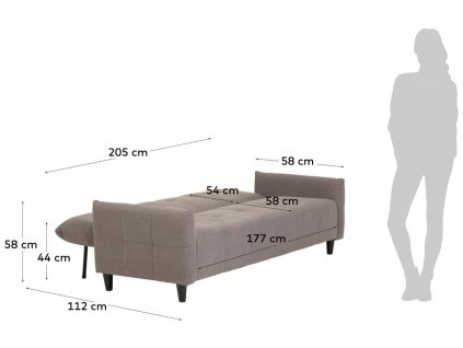 Šedá čalouněná dvoumístná rozkládací pohovka LaForma Nury 202 cm