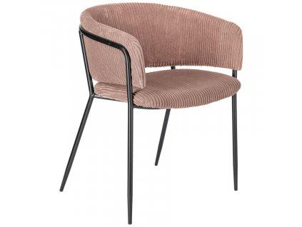 Růžová manšestrová jídelní židle LaForma Konnie