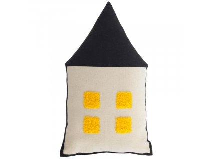 Barevný polštář LaForma Nisi ve tvaru domku 35 x 20 cm