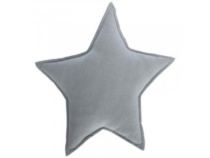 Šedý polštář LaForma Noor ve tvaru hvězdy 44 x 30 cm