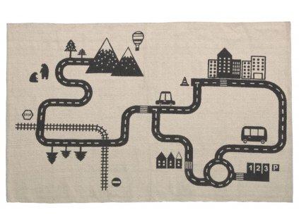 Béžovo černý látkový koberec LaForma Nisi 75 x 120 cm