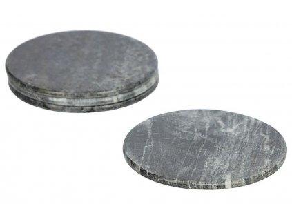 Antracitově šedý mramorový set čtyř kulatých podtácků LaForma Tresa