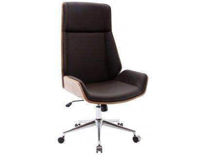 Tmavě hnědá čalouněná ořechová kancelářská židle Berger