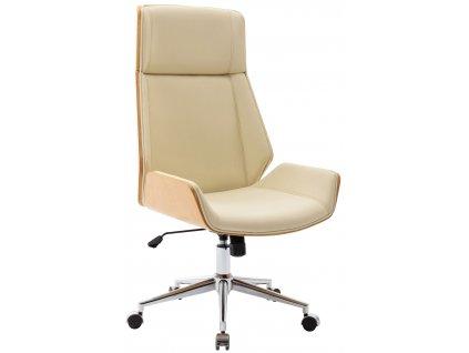 Béžová koženková dubová kancelářská židle Berger