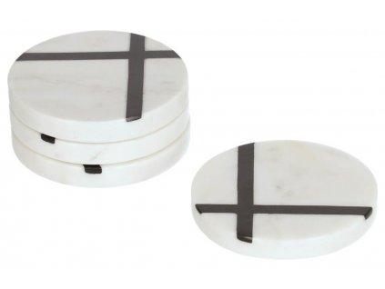 Bílý mramorový set čtyř kulatých podtácků LaForma Imeris