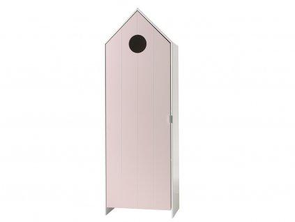 Růžová dřevěná šatní skříň Vipack Casami 171 cm