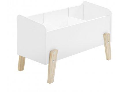 Bílý dřevěný úložný box na hračky Vipack Kiddy 39 x 80 cm