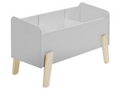 Šedý dřevěný úložný box na hračky Vipack Kiddy 39 x 80 cm