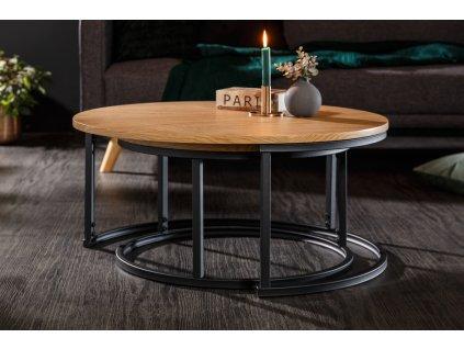 Set dvou přírodních dřevěných konferenčních stolků Sexta 80/60 cm