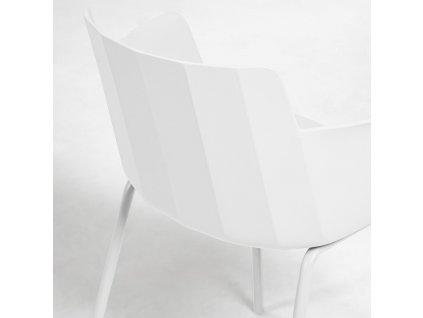 Bílá plastová jídelní židle LaForma Hannia s područkami