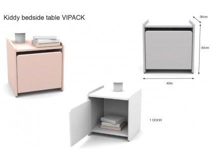 Růžový dřevěný dětský noční stolek Vipack Kiddy 40 x 36 cm
