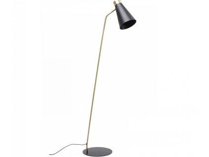Černo zlatá kovová stojací lampa Richmond 144 cm