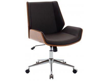 Tmavě hnědá koženková ořechová kancelářská židle Berger II.