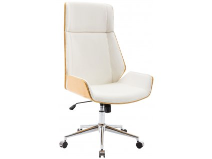 Bílá koženková dubová kancelářská židle Berger