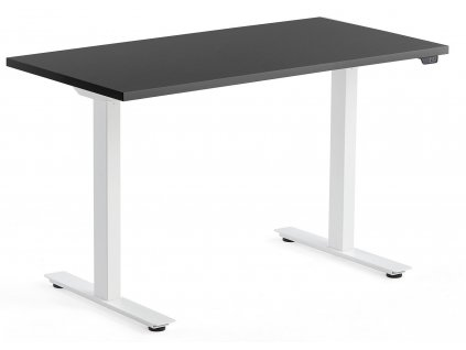Černý výškově nastavitelný pracovní stůl FormWood Barry 120 x 60 cm