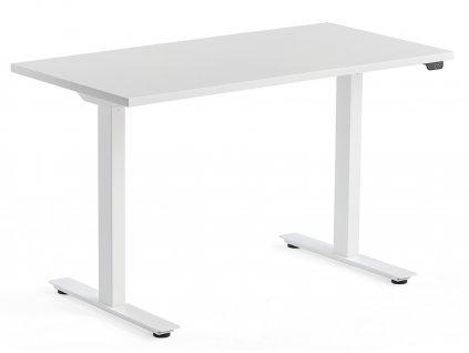 Bílý výškově nastavitelný pracovní stůl Barry 120 x 60 cm