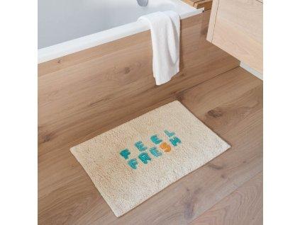 Béžová bavlněná koupelnová předložka LaForma Nandi Feel Fresh 40 x 60 cm