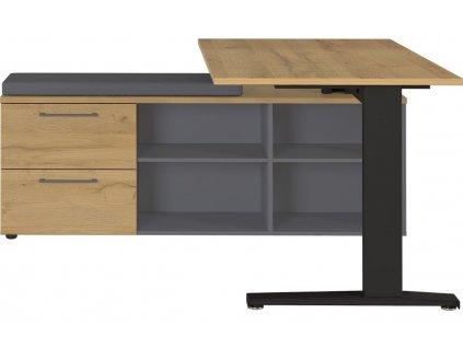 Dubový výškově stavitelný pracovní stůl GW Agenda 159x160 cm s úložným prostorem