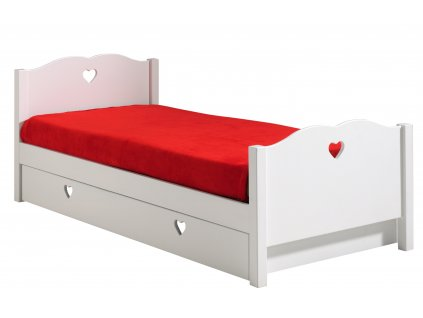 Bílá dřevěná dětská postel Vipack Amori 90 x 200 cm se zásuvkou