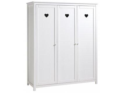Bílá dřevěná dětská skříň Vipack Amori 159 x 57 cm