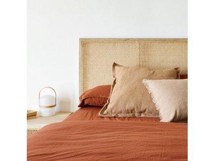 Červená sada povlečení LaForma Ibelis 180 x 200 ze 100% organické bavlny (GOTS)