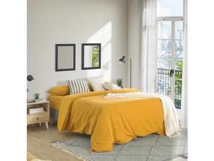 Hořčicově žlutá sada povlečení LaForma Ibelis 180 x 200 ze 100% organické bavlny (GOTS)